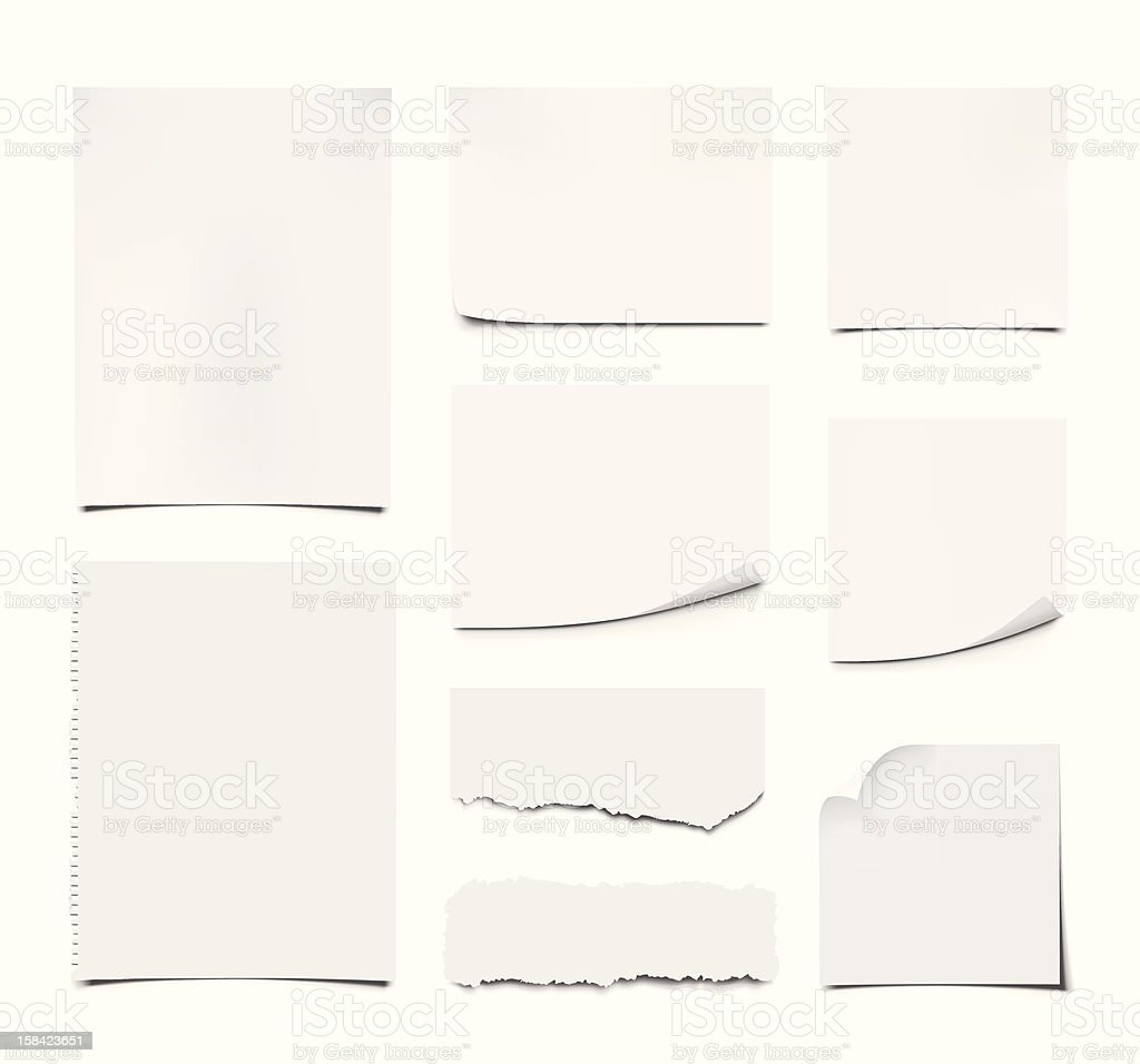 Blank Notes and Papers vector art illustration