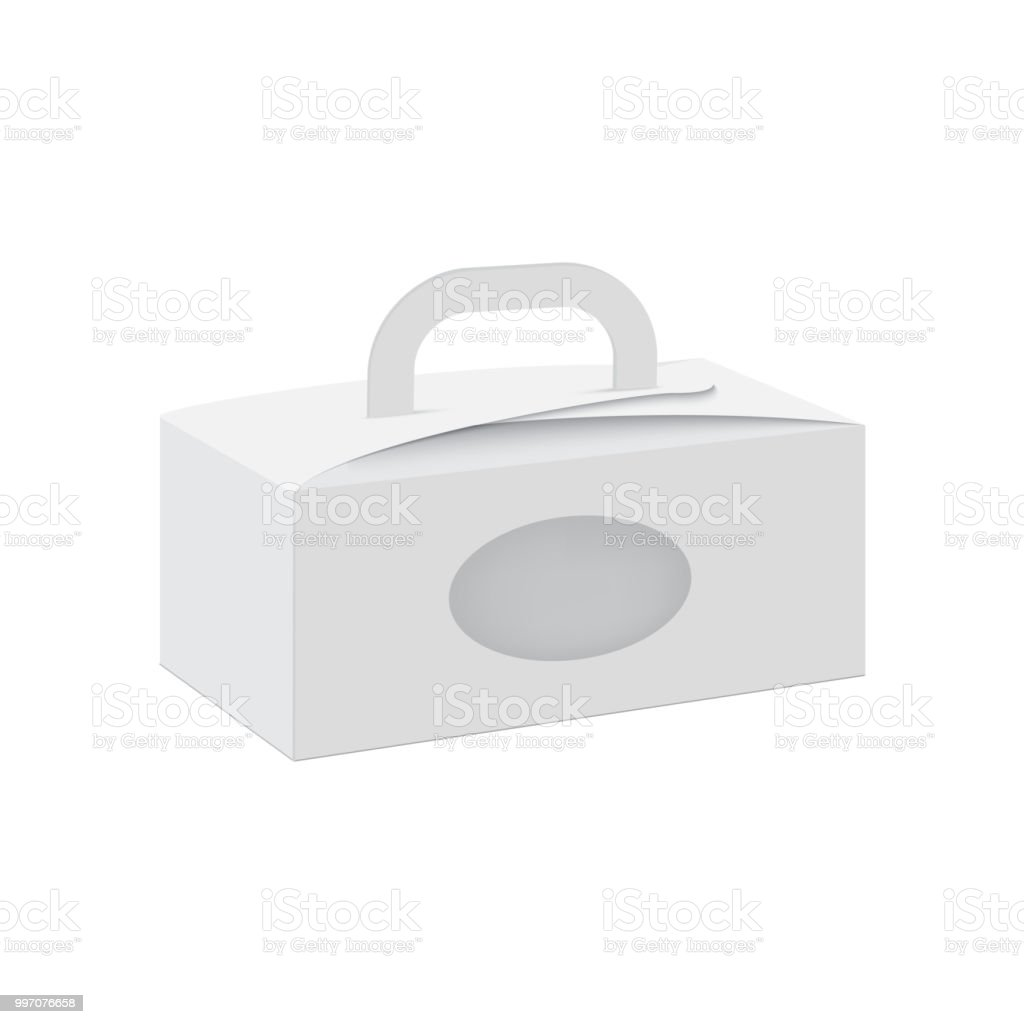 Blank Of Cardboard Gift Box With Handle And Transparent Window