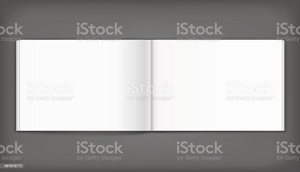 Blank of open album on grey background. Template vector art illustration