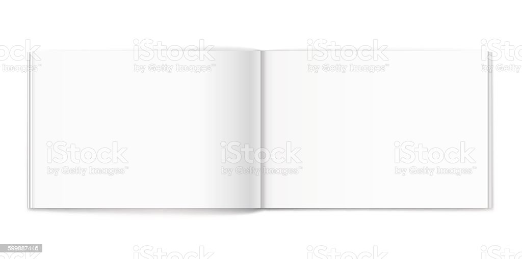 Blank of open album on white background. Template vector art illustration