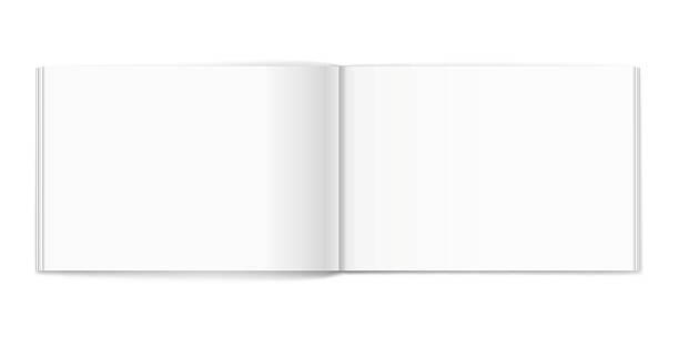 Blank of open album on white background. Template vector art illustration