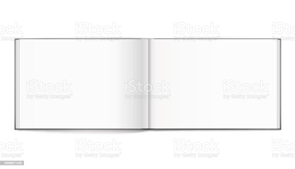 Blank of open album with cover on white background. Template vector art illustration