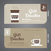 Blank of vector gift voucher to increase the sales of coffee in a cafe.