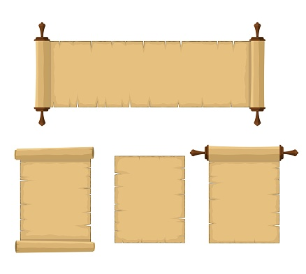 Blank old scrolls of papyrus paper set isolated on white background. Blank retro papyrus sheet in flat style, illustration of ancient parchment