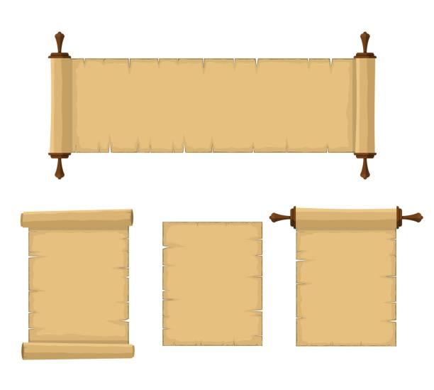 白紙紙上的空白舊卷軸被隔離在白色背景上。平面樣式的空白復古紙莎草紙, 古羊皮紙插圖 - 紙捲軸 幅插畫檔、美工圖案、卡通及圖標