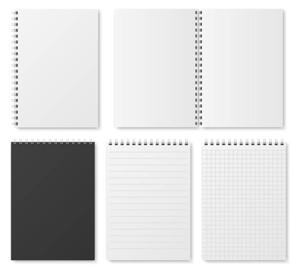 Blank open and closed realistic notebook, organizer and diary vector template isolated Blank open and closed realistic notebook, organizer and diary vector template isolated. Diary notepad, paper page organizer and notebook illustration fabric swatch stock illustrations