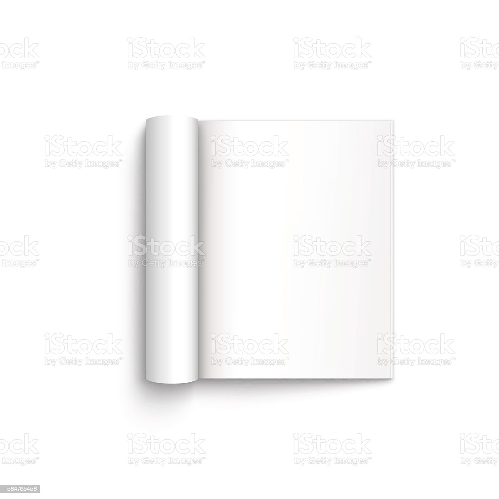 Blank open magazine template on white background vector art illustration