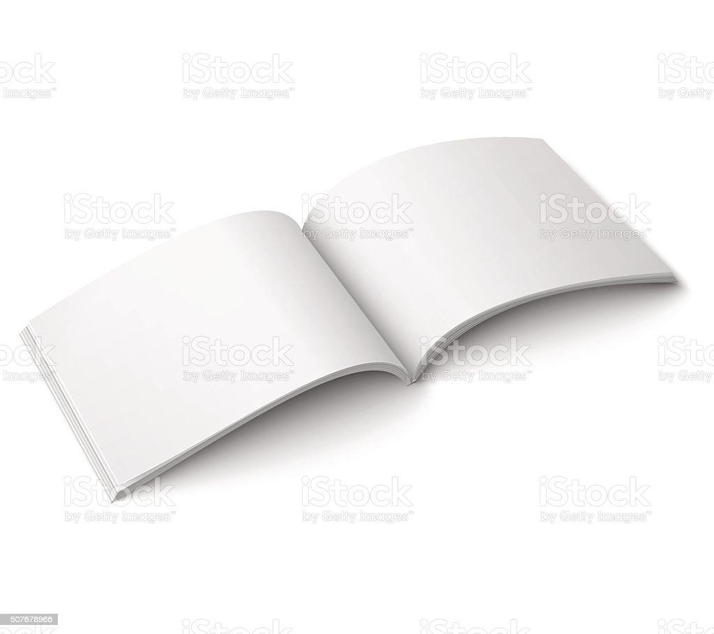 Blank open magazine template. Wide format vector art illustration