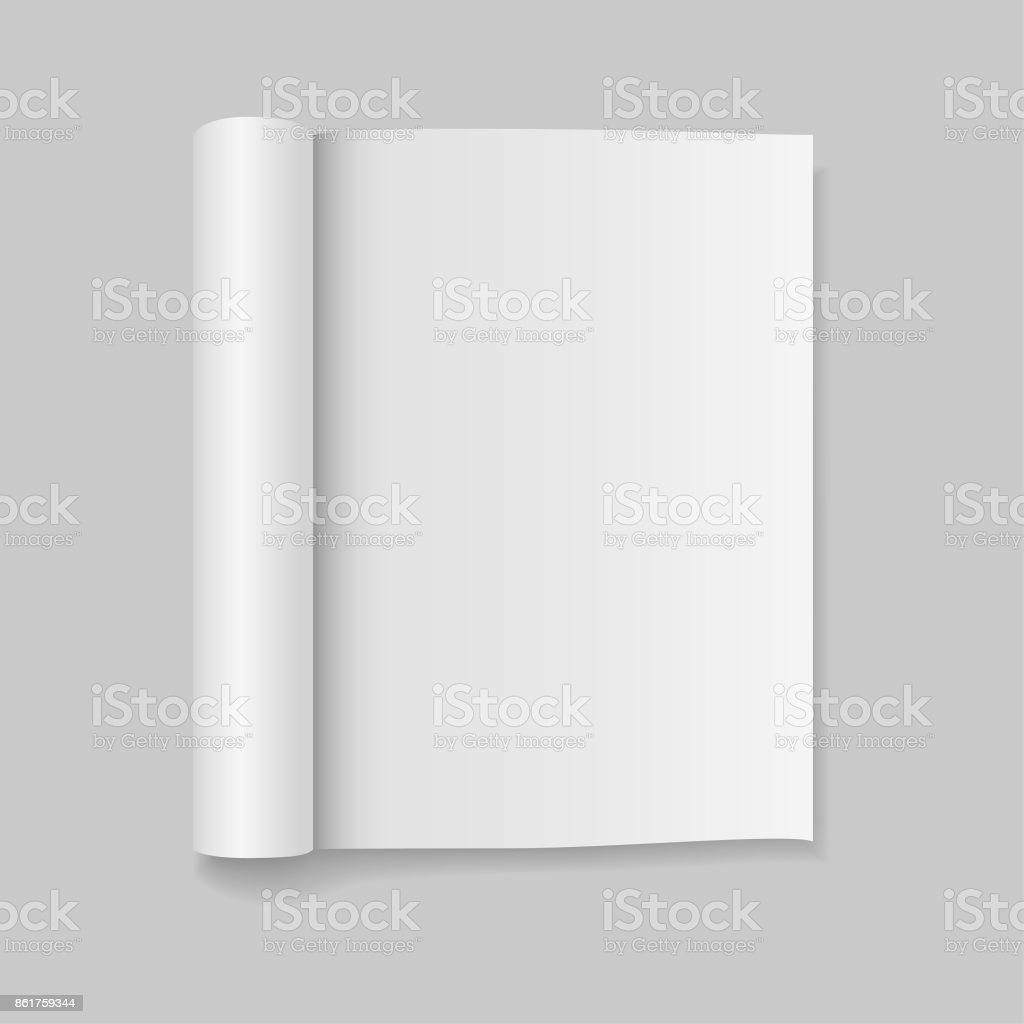 Blank open magazine template with rolled pages. Vector illustration. vector art illustration