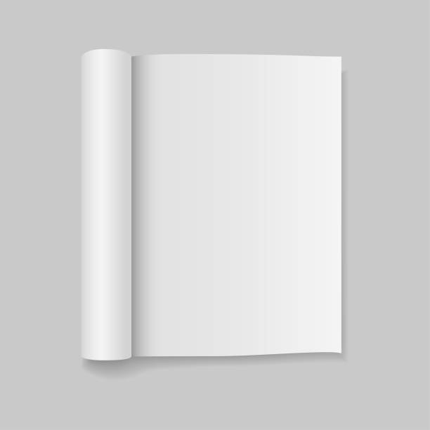 illustrazioni stock, clip art, cartoni animati e icone di tendenza di blank open magazine template with rolled pages. vector illustration. - rotolo