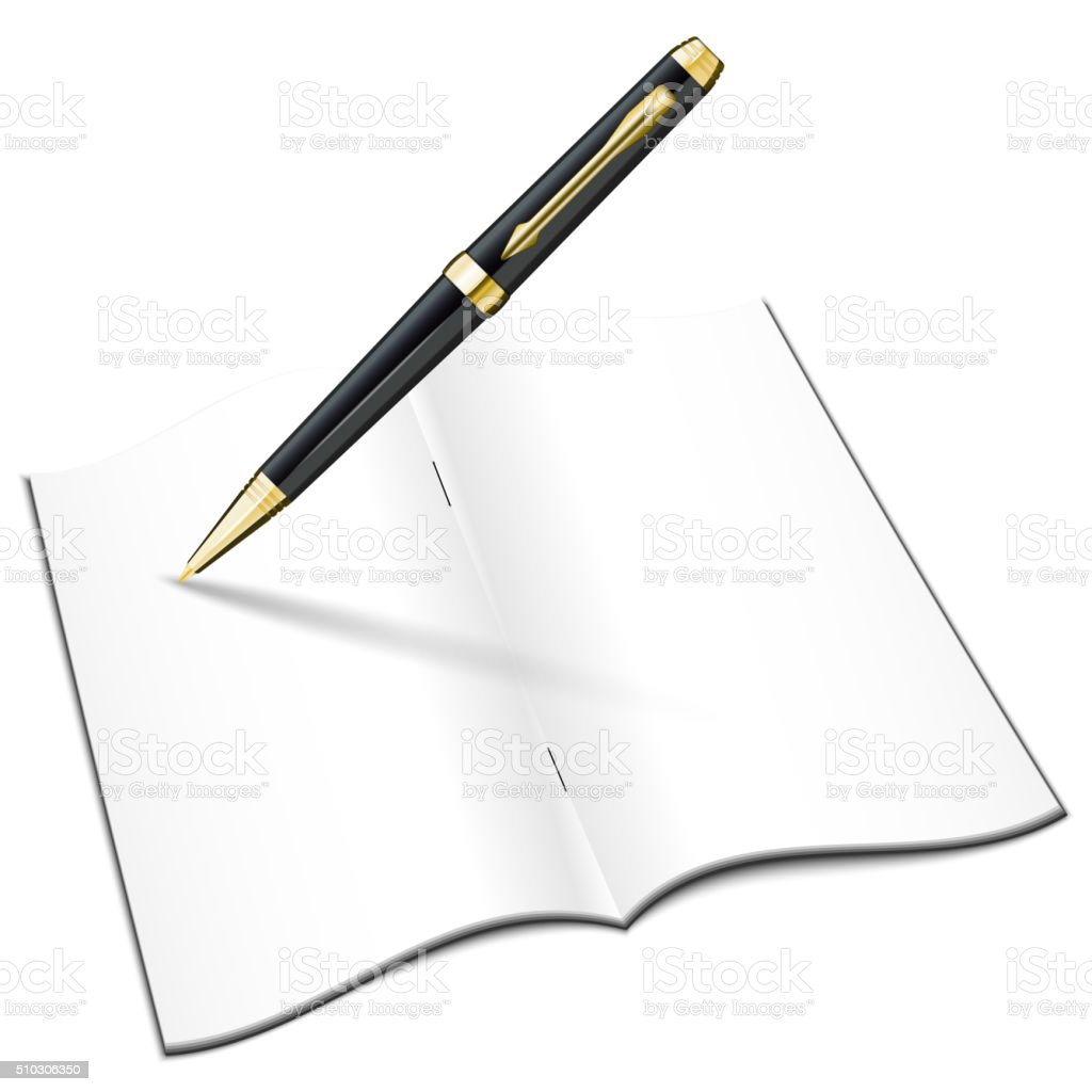 Blank Open Notebook With Classic Pen Stock Vector Art More Images Ballpoint Diagram And Notepad Royalty Free Photos