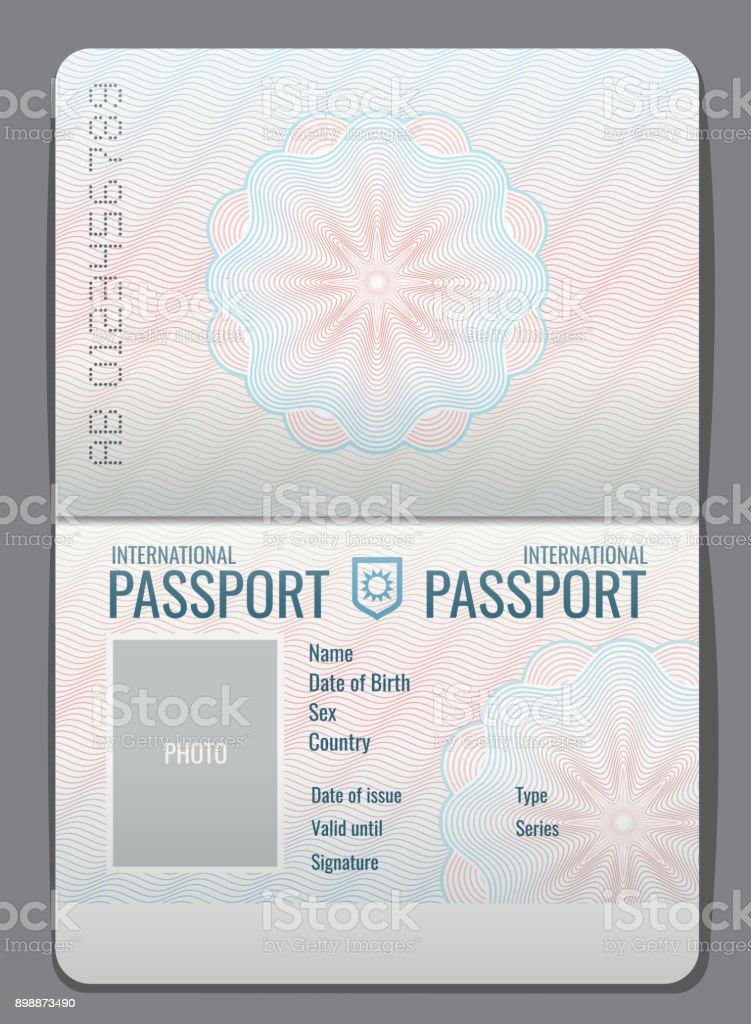 Blank Open Passport Template Isolated Vector Illustration Stock ...