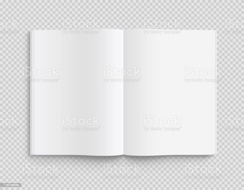 Molde aberto em branco do livro, do compartimento e do caderno com sombras macias no fundo transparente. Vista frontal. -Vector stock. - Vetor de Aberto royalty-free