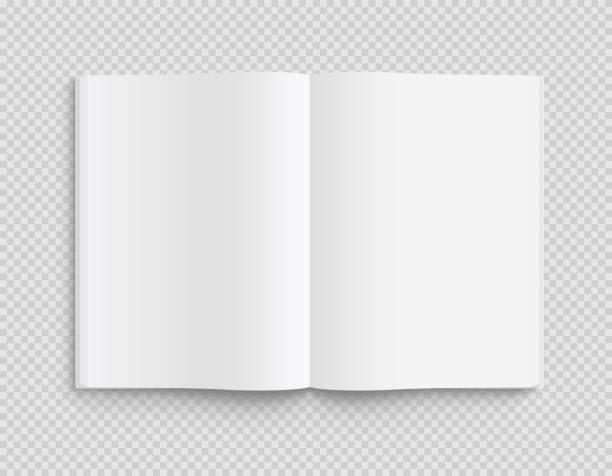 leere geöffnete buch-, magazin- und notizbuchvorlage mit weichen schatten auf transparentem hintergrund. frontansicht. - lagervektor. - buchseite stock-grafiken, -clipart, -cartoons und -symbole