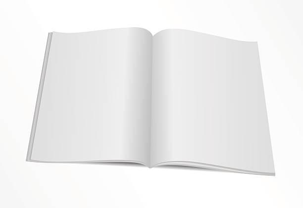 blank opened magazine mock template Vector illustration. Blank opened magazine template. spreading stock illustrations