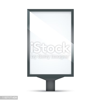 Blank outdoor lightbox isolated on white background. City Lightbox with black and silver frame.