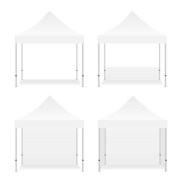 leere outdoor werbe quadrat-zelte - dachzelt stock-grafiken, -clipart, -cartoons und -symbole
