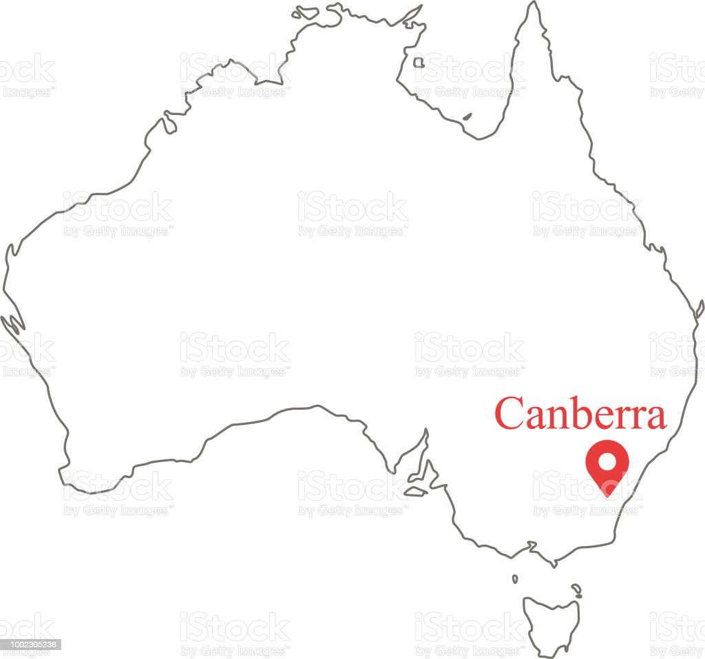 blank outline map of australia border vector illustration and capital location canberra royalty free blank