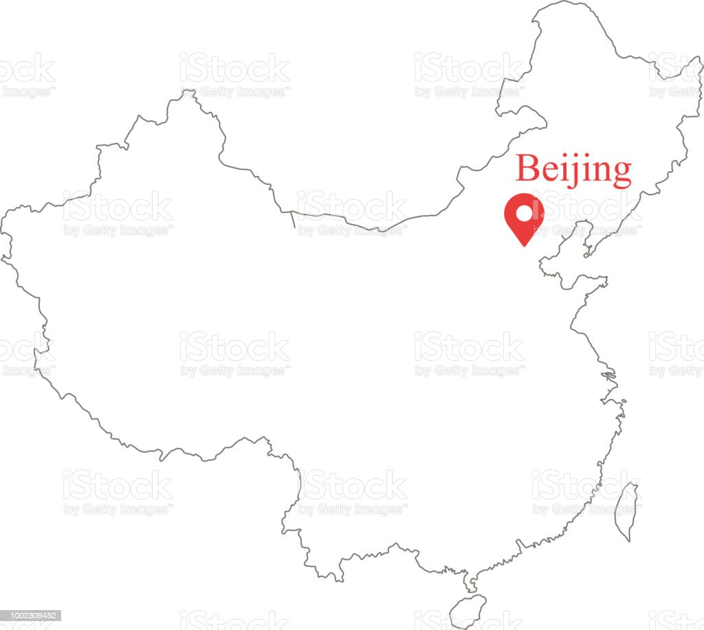 Blank Outline Map Of China Border Vector Illustration And Capital ...
