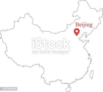 Blank Outline Map Of China Border Vector Illustration And
