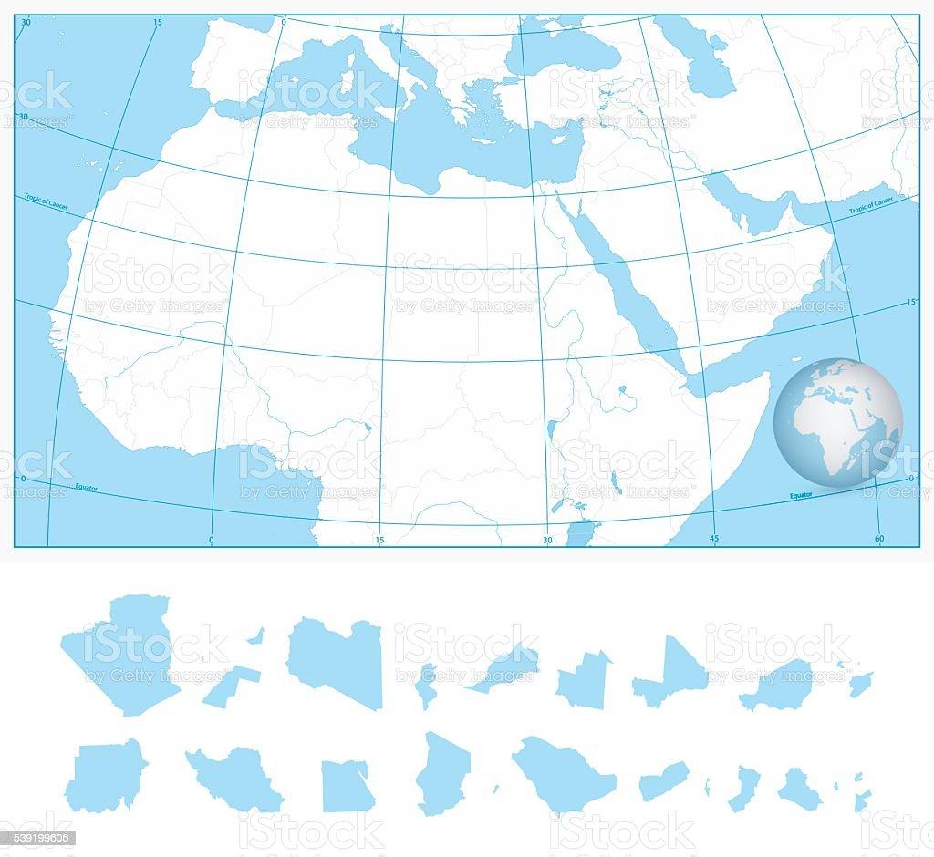 Carte De Lafrique Et Moyen Orient.Vierge Carte De Contour Du Nord De Lafrique Et Du Moyenorient