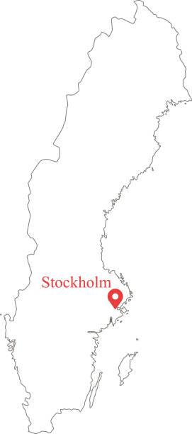bildbanksillustrationer, clip art samt tecknat material och ikoner med tom konturkarta över sverige gränsen vektor illustration och kapital läge stockholm - luleå