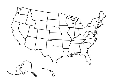Blank outline map of United States of America. Simplified vector map made of thick black outline on white background