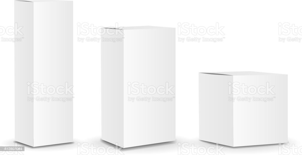 Blank package Box set. Vector vector art illustration