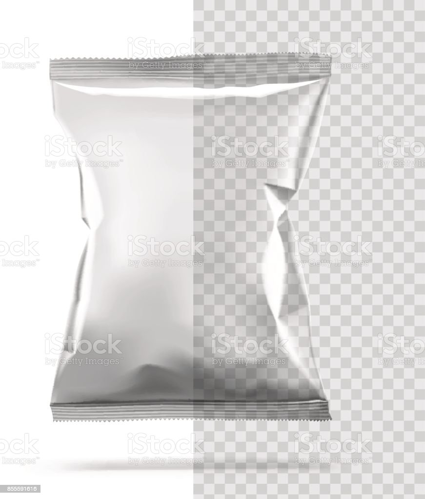 Blank package isolated on transparent background. vector art illustration