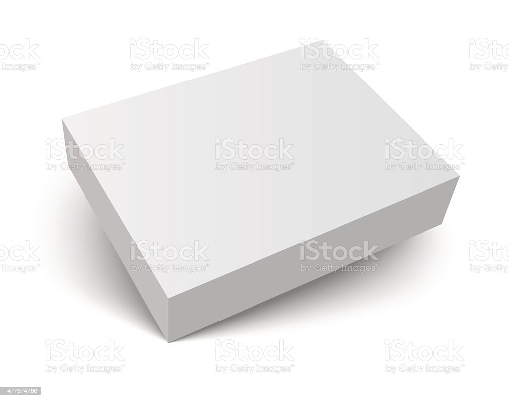 blank packaging box with shadow vector art illustration