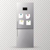 Blank paper and stick paper on refrigerator door. Fridge