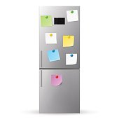 Blank paper and stick paper on refrigerator door. Fridge