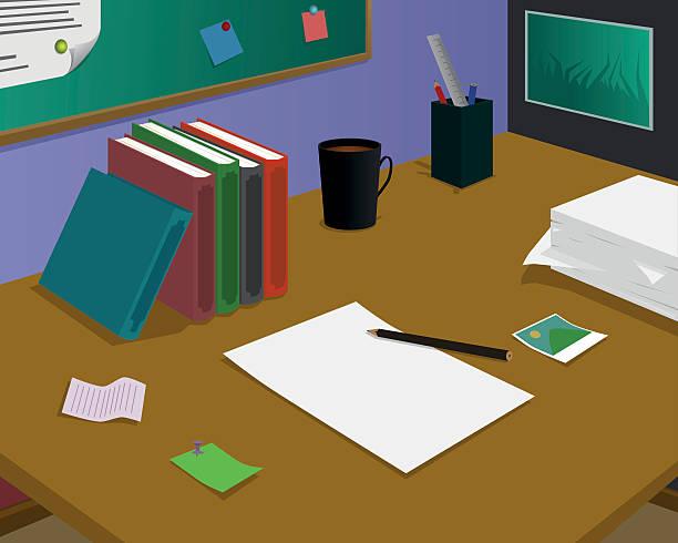 leere papier am schreibtisch, warten auf ideen - filzarbeiten stock-grafiken, -clipart, -cartoons und -symbole