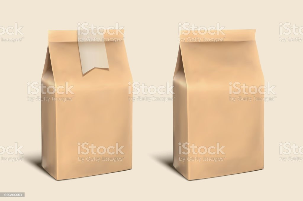 Blank paper bag template vector art illustration
