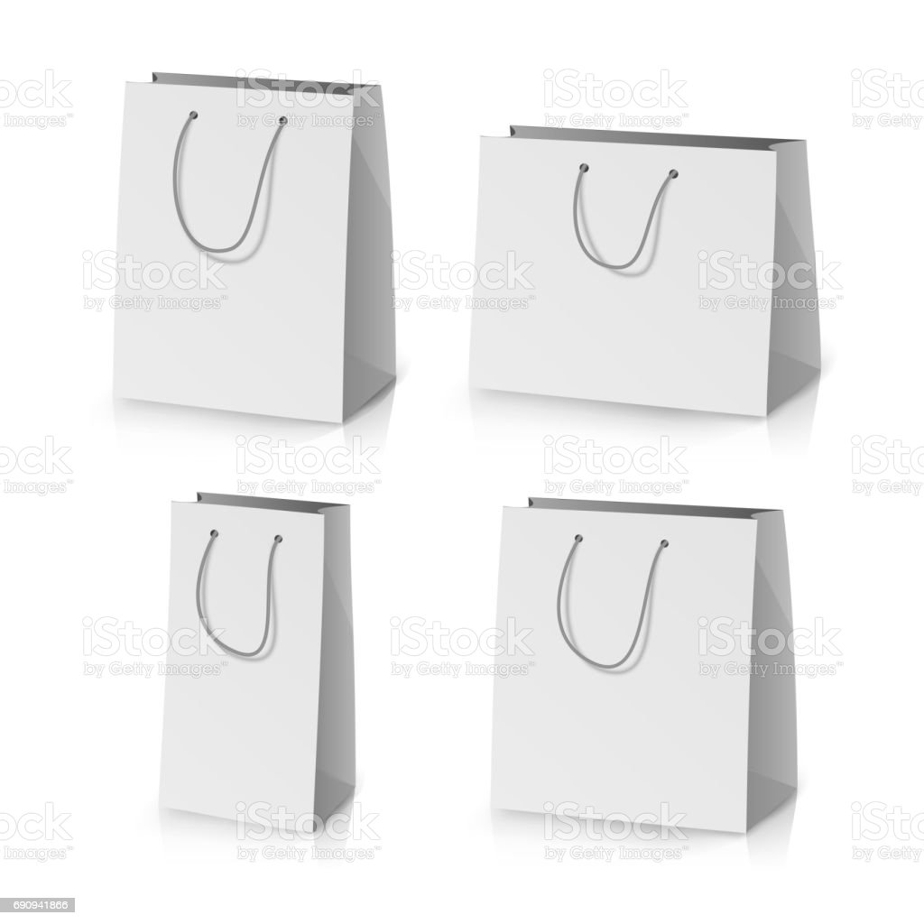 blank paper bag template vector realistic gift bag illustration