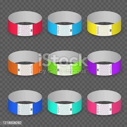 Blank paper event bracelet set. Luminance colors hand band ids, branding papers bracelets for entrance and identification check isolated on transparent background