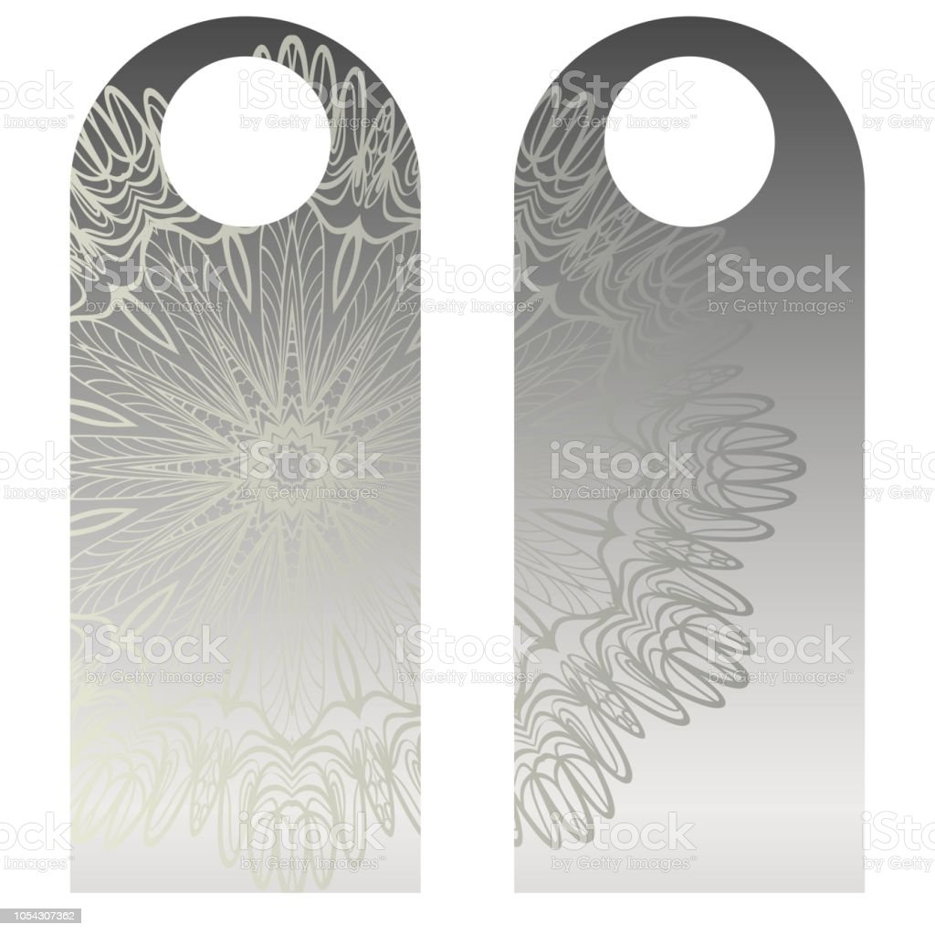 blank paper label door hanger design with floral mandala ornament
