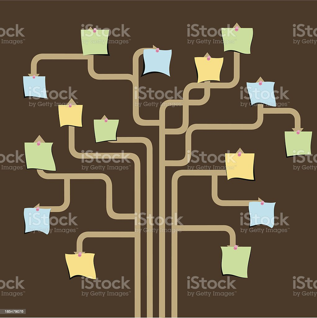 blank paper note tree royalty-free stock vector art