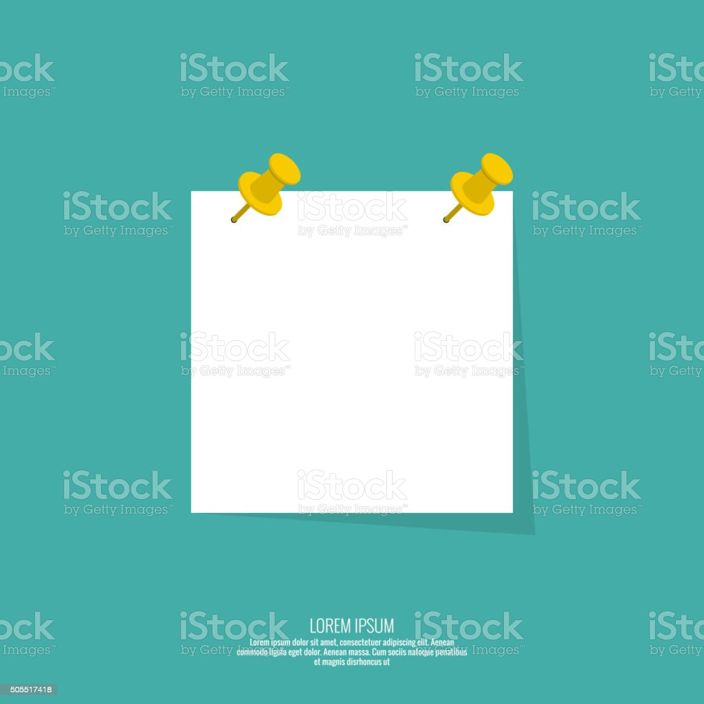 Blank paper note with push pin vector art illustration
