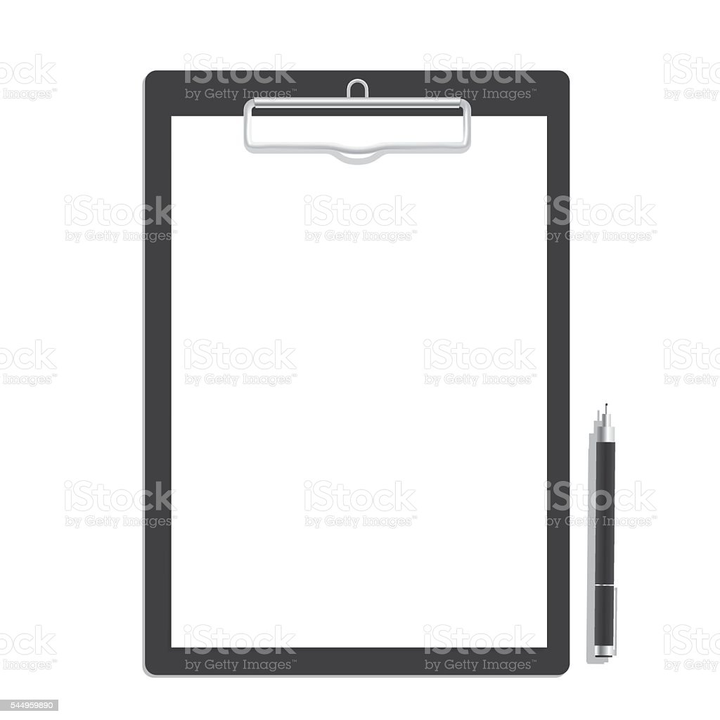 Blank paper on clipboard and black pen mock up vector. vector art illustration