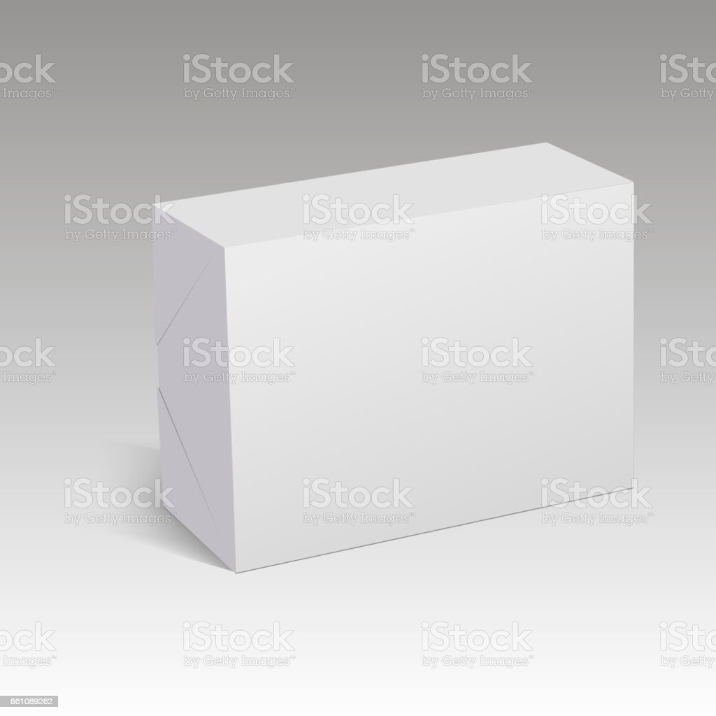 Blank Paper Or Cardboard Box Template Vector Illustration Stock ...