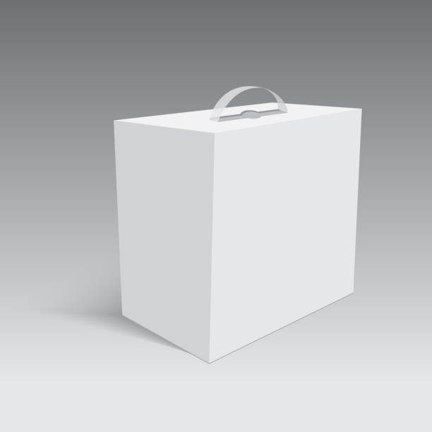 Blank paper or cardboard box with handle. Vector Blank paper or cardboard box with handle. Vector. handle stock illustrations