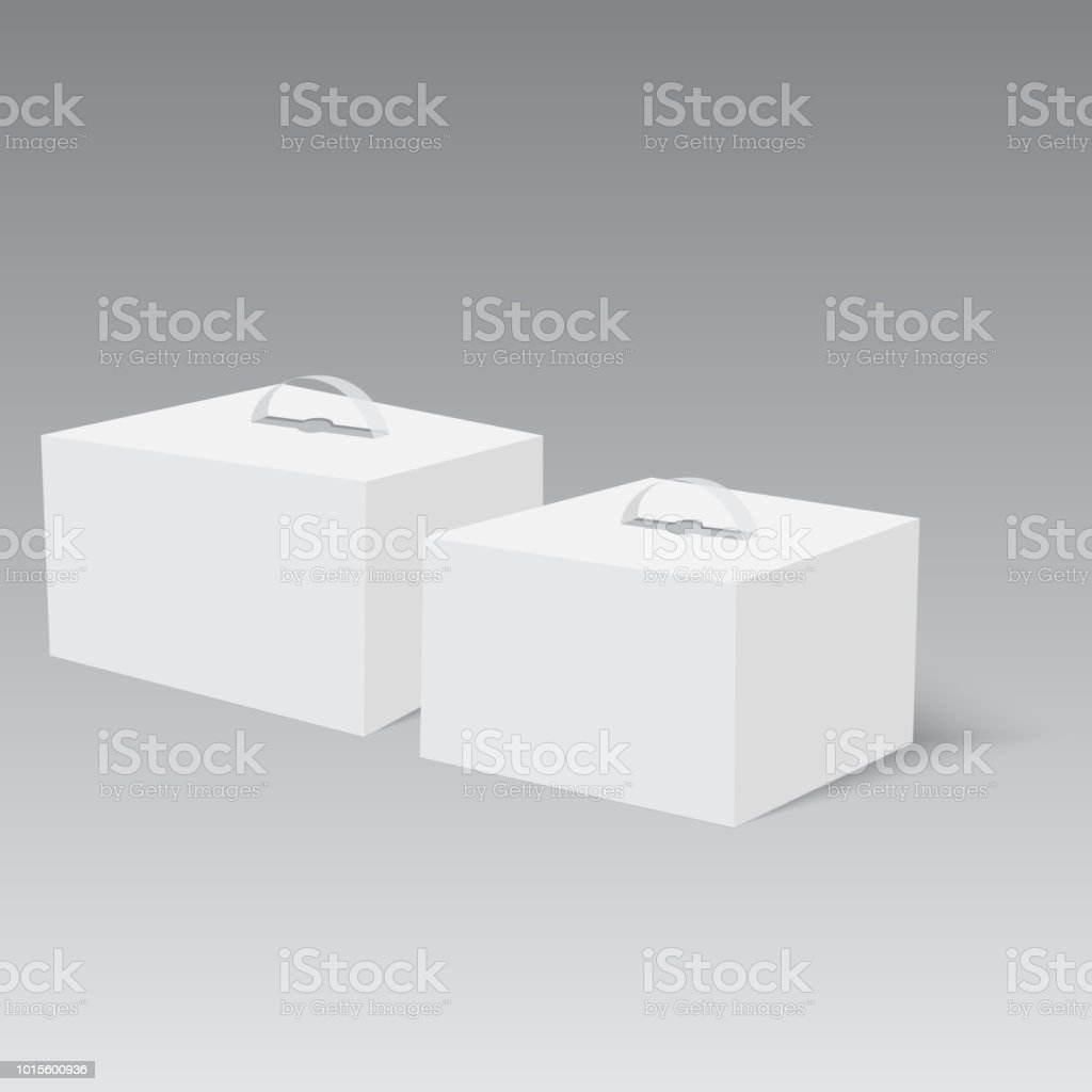 Blank Paper Or Cardboard Box With Handle Vector Stock Illustration