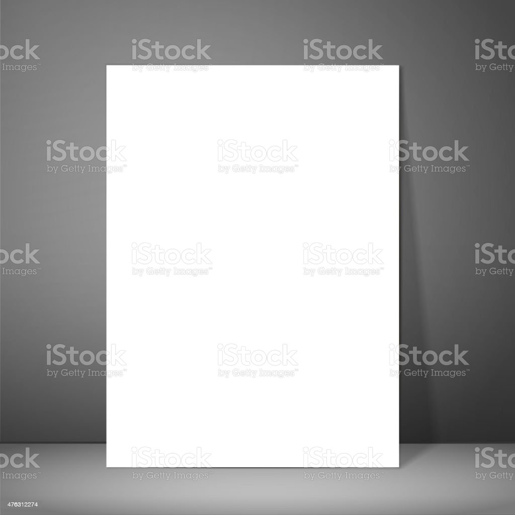 Blank paper poster on wall. Mockup presentation vector art illustration