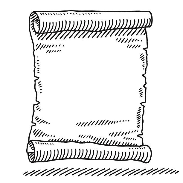 Blank Paper Scroll Drawing Hand-drawn vector drawing of a Blank Paper Scroll. Black-and-White sketch on a transparent background (.eps-file). Included files are EPS (v10) and Hi-Res JPG. celebration stock illustrations