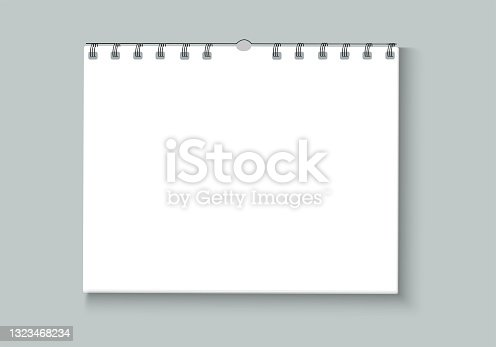 istock Blank, paper spiral bound notebook. Blank tear-off calendar mockup with black staples. Important reminder notes. Stationery. Vector illustration. 1323468234