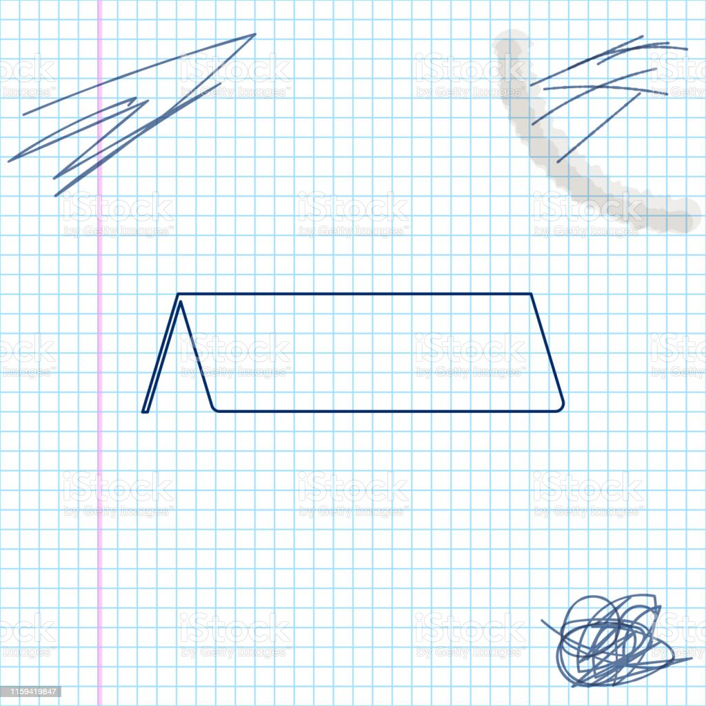 Blank Paper Table Card Line Sketch Icon Isolated On White Background
