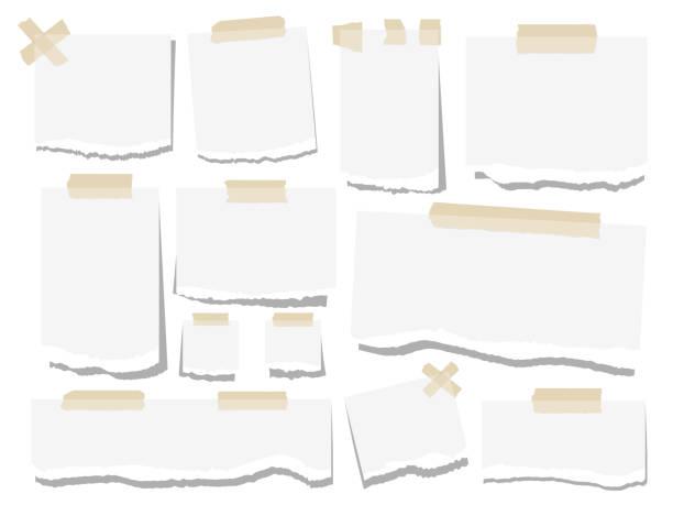 blank paper torn page notes - palettenbilderrahmen stock-grafiken, -clipart, -cartoons und -symbole