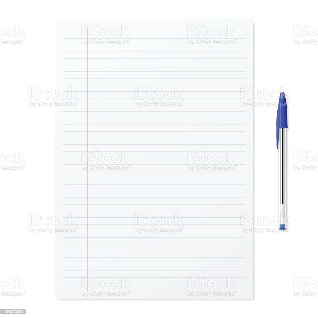 Blank paper with blue ballpoint pen on white backgorund vector art illustration