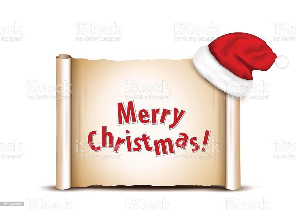 Blank paper with Santa Hat on a white christmas background Lizenzfreies blank paper with santa hat on a white christmas background stock vektor art und mehr bilder von bildkomposition und technik